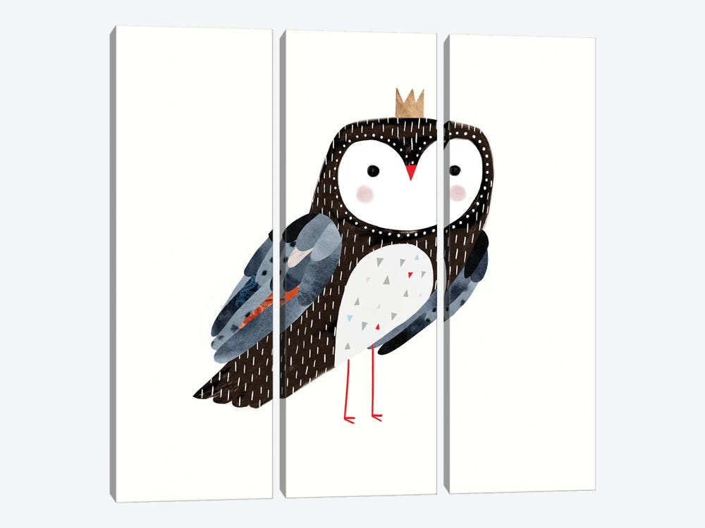 Crowned Critter I by Victoria Borges 3-piece Canvas Print