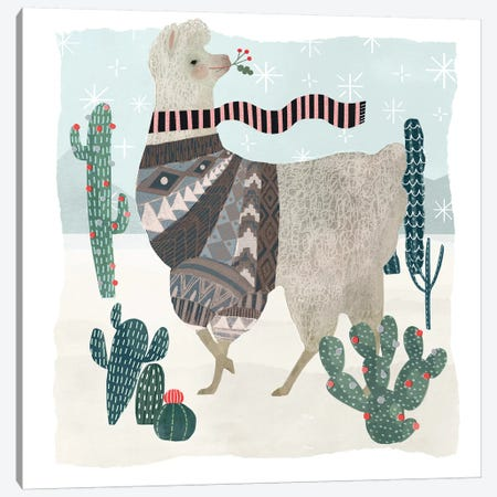 Holiday Llama I Canvas Print #VBO39} by Victoria Borges Canvas Art