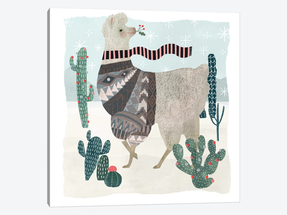 Holiday Llama I by Victoria Borges 1-piece Canvas Print