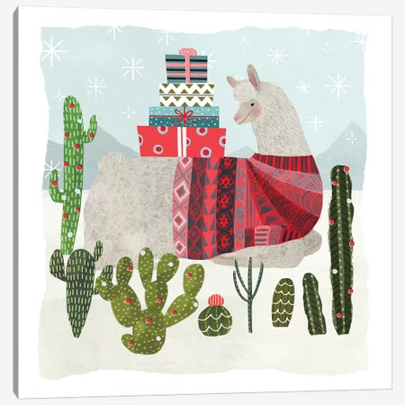 Holiday Llama III Canvas Print #VBO41} by Victoria Borges Art Print