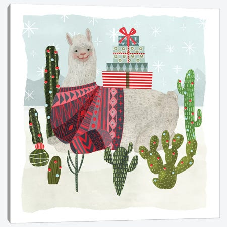 Holiday Llama IV Canvas Print #VBO42} by Victoria Borges Art Print
