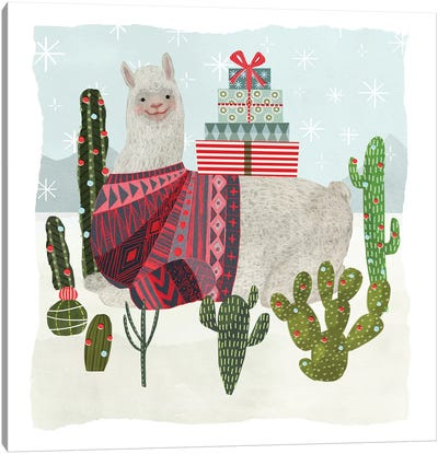 Holiday Llama IV Canvas Art Print