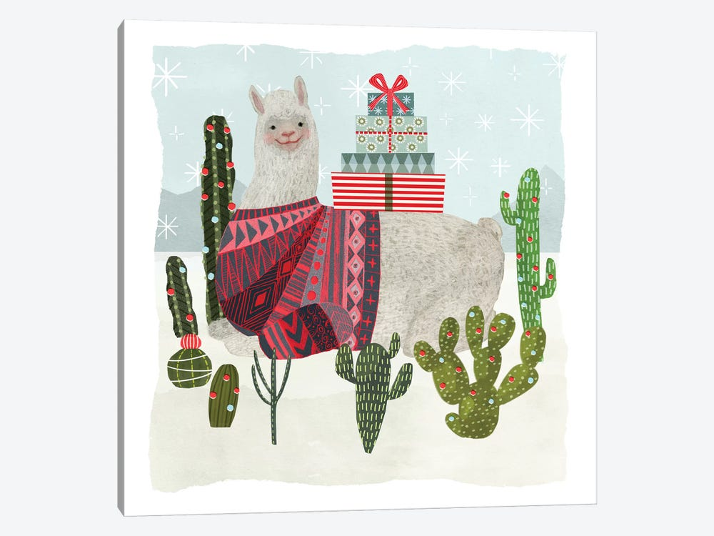 Holiday Llama IV by Victoria Borges 1-piece Canvas Art Print
