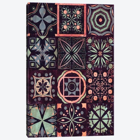Kaleidoscope Tile II 3-Piece Canvas #VBO46} by Victoria Borges Canvas Art
