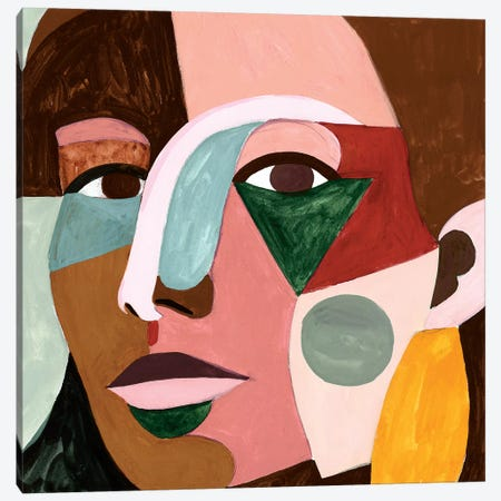Geo Face I Canvas Print #VBO479} by Victoria Borges Canvas Artwork