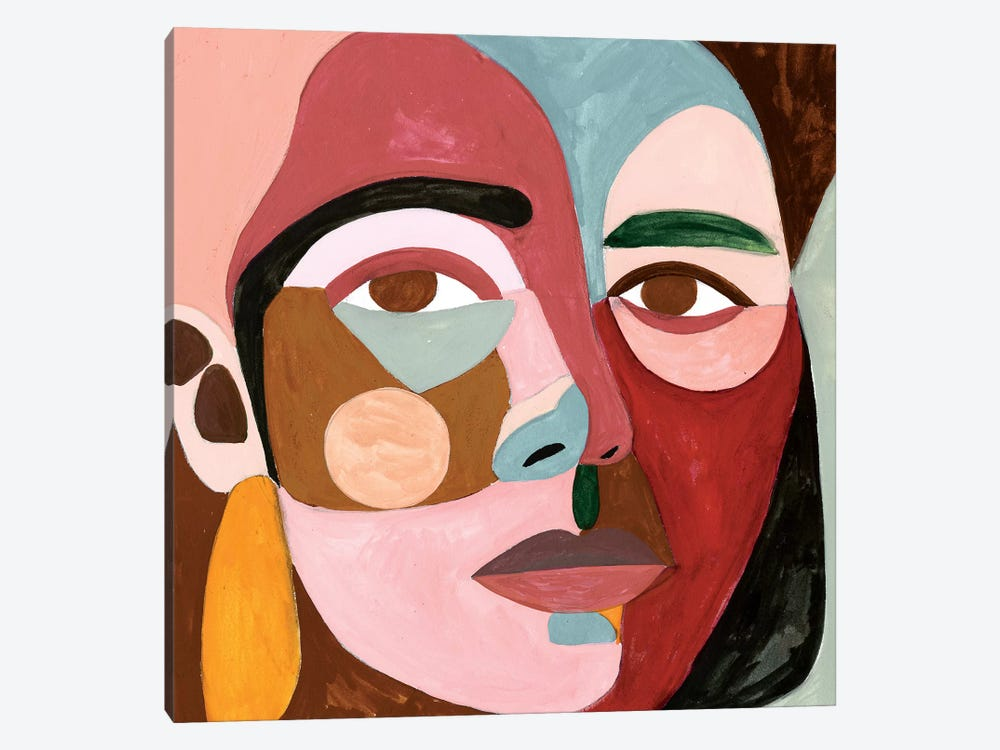 Geo Face II by Victoria Borges 1-piece Canvas Art