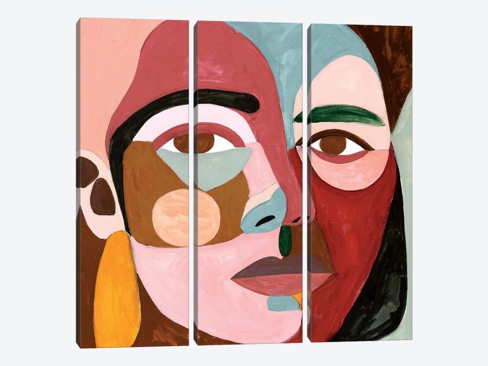 Geo Face II by Victoria Borges 3-piece Canvas Artwork