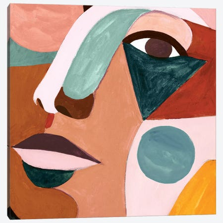 Geo Face IV Canvas Print #VBO482} by Victoria Borges Canvas Art Print
