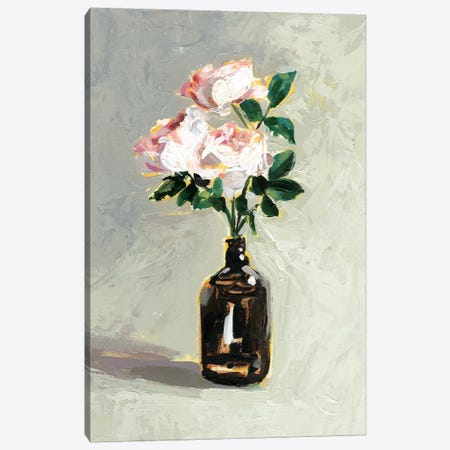 Amber Bottle Flowers I Canvas Print #VBO517} by Victoria Borges Canvas Wall Art