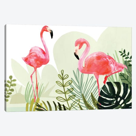 Flamingo Forest Collection Canvas Print #VBO545} by Victoria Borges Canvas Art Print
