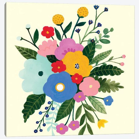 Primary Blooms I 3-Piece Canvas #VBO610} by Victoria Borges Canvas Art