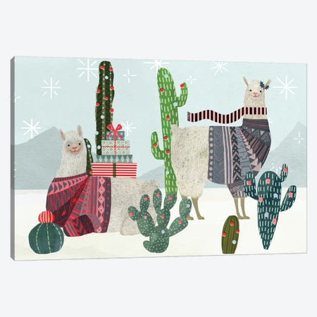 Holiday Llama Collection A Canvas Print #VBO685} by Victoria Borges Canvas Art