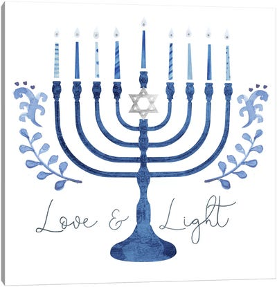 Indigo Hanukkah Collection A Canvas Art Print