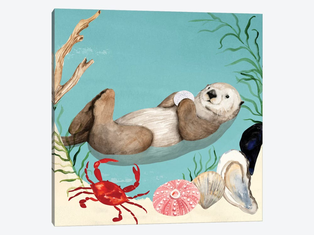 Otter's Paradise I by Victoria Borges 1-piece Canvas Wall Art