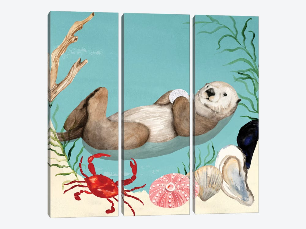 Otter's Paradise I by Victoria Borges 3-piece Canvas Art