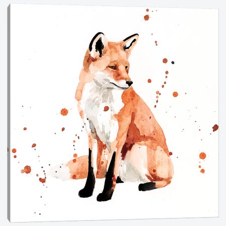 Watercolor Fox II Canvas Print #VBO866} by Victoria Borges Canvas Wall Art