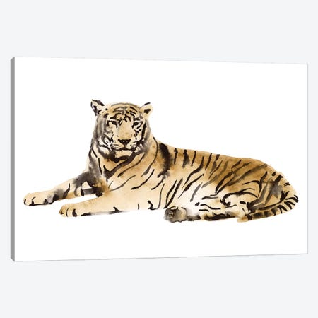 Watercolor Tiger I Canvas Print #VBO867} by Victoria Borges Canvas Wall Art