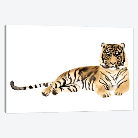 Watercolor Tiger II Canvas Print #VBO868} by Victoria Borges Canvas Art Print