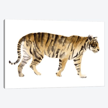 Watercolor Tiger IV Canvas Print #VBO870} by Victoria Borges Canvas Wall Art