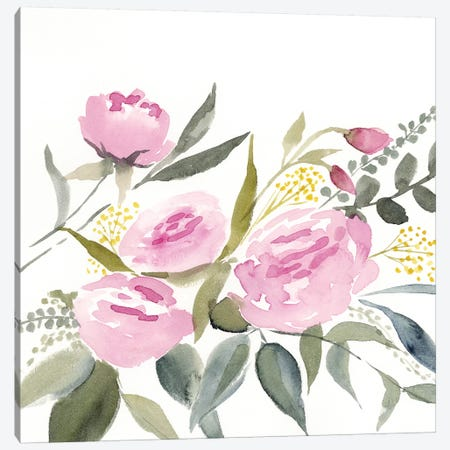 Rosebud Watercolor I Canvas Print #VBO87} by Victoria Borges Canvas Wall Art
