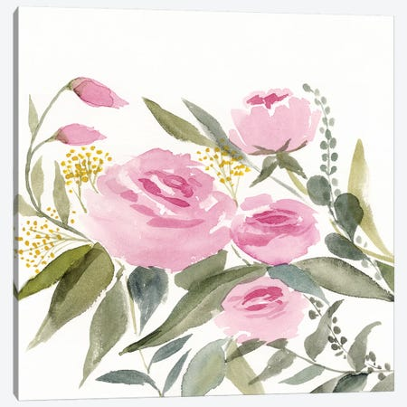 Rosebud Watercolor II Canvas Print #VBO88} by Victoria Borges Canvas Print