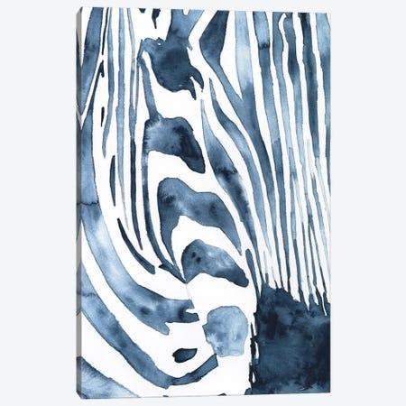 Indigo Zebra I Canvas Print #VBO904} by Victoria Borges Art Print