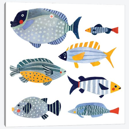 Patterned Fish I 3-Piece Canvas #VBR19} by Victoria Barnes Canvas Art Print