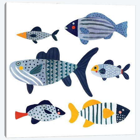 Patterned Fish II 3-Piece Canvas #VBR20} by Victoria Barnes Canvas Artwork