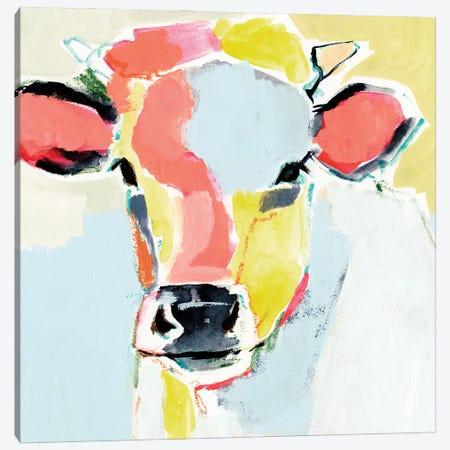 Pastel Cow II Canvas Print #VBR258} by Victoria Barnes Canvas Artwork