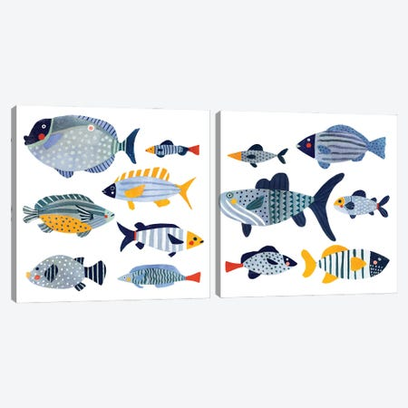 Patterned Fish Diptych Canvas Print Set #VBR2HSET001} by Victoria Barnes Canvas Art Print
