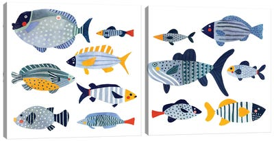 Patterned Fish Diptych Canvas Art Print