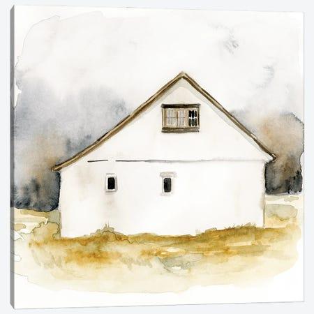 White Barn Watercolor I Canvas Print #VBR33} by Victoria Barnes Canvas Print