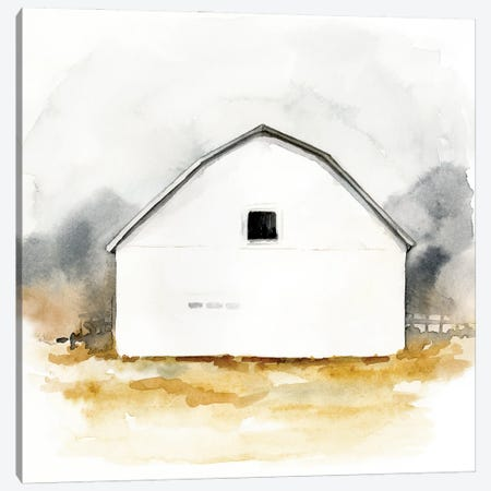 White Barn Watercolor II Canvas Print #VBR34} by Victoria Barnes Canvas Artwork