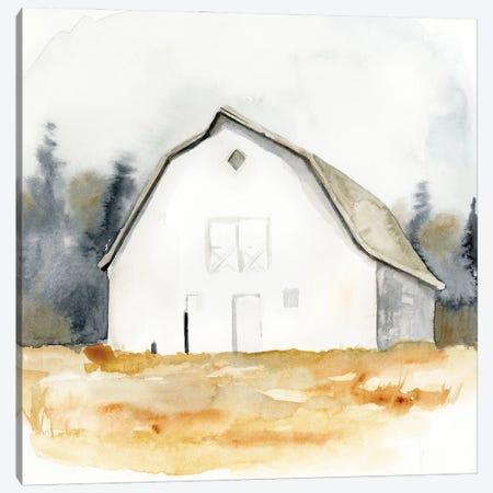 White Barn Watercolor III Canvas Print #VBR35} by Victoria Barnes Canvas Wall Art