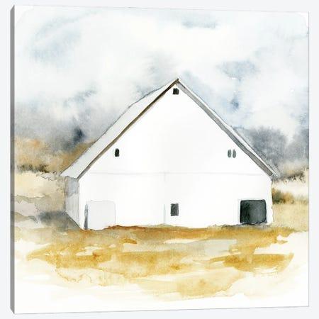 White Barn Watercolor IV Canvas Print #VBR36} by Victoria Barnes Canvas Wall Art