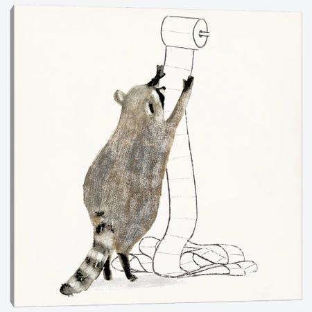 Rascally Raccoon IV Canvas Print #VBR50} by Victoria Barnes Art Print
