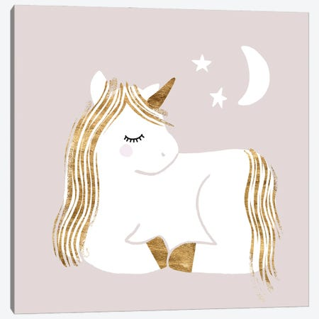 Sleepy Unicorn II Canvas Print #VBR94} by Victoria Barnes Canvas Wall Art