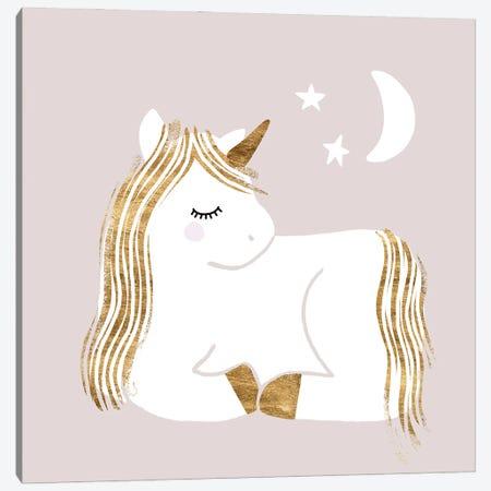 Sleepy Unicorn II Canvas Print #VBR94} by Victoria Barnes Canvas Wall Art