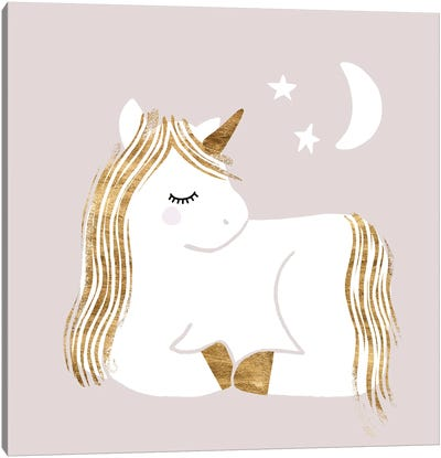 Sleepy Unicorn II Canvas Art Print
