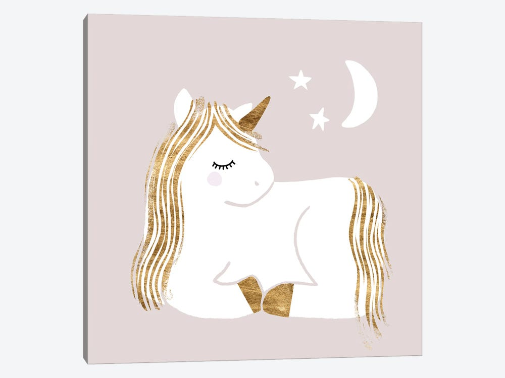 Sleepy Unicorn II by Victoria Barnes 1-piece Canvas Artwork