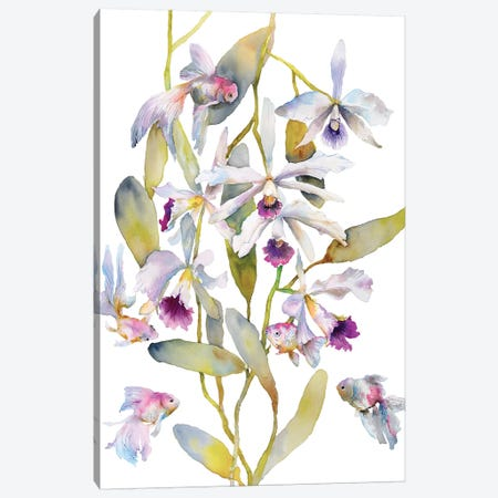 Orchids Fish Canvas Print #VBY35} by Violetta Boyadzhieva Canvas Art Print