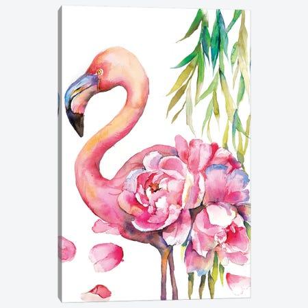 Peony Flamingo Canvas Print #VBY38} by Violetta Boyadzhieva Canvas Artwork