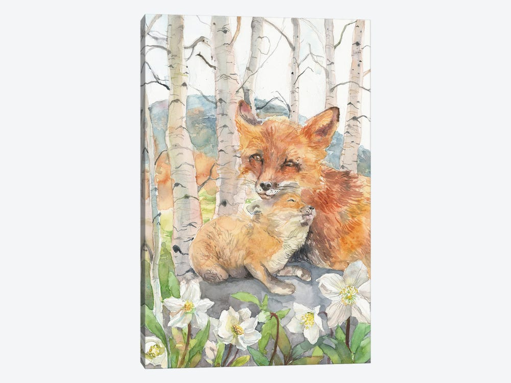 Mother And Baby Foxes by Violetta Boyadzhieva 1-piece Art Print