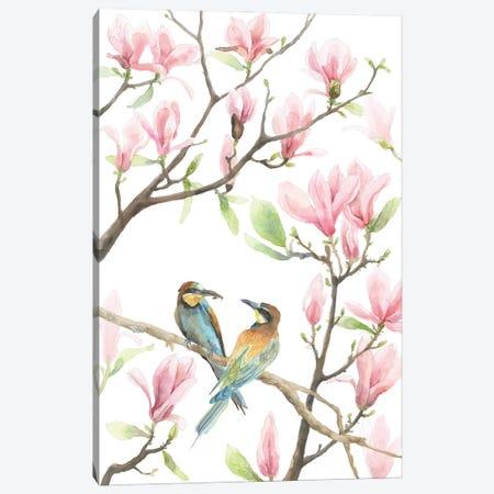 Bee Eaters And Magnolias Canvas Print #VBY72} by Violetta Boyadzhieva Canvas Artwork