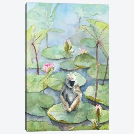 Monkey In A Lily Pond, Dreamy Watercolor Fantasy Landscape Canvas Print #VBY74} by Violetta Boyadzhieva Art Print