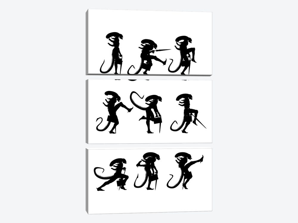 Ministry Of Silly Alien Walks by Vincent Carrozza 3-piece Canvas Wall Art
