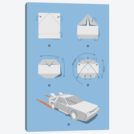 Origami Delorean 3-Piece Canvas #VCA25} by Vincent Carrozza Art Print
