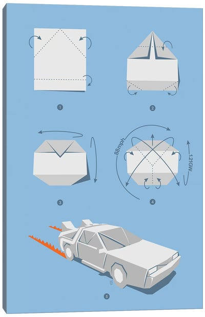 Origami Delorean Canvas Art Print