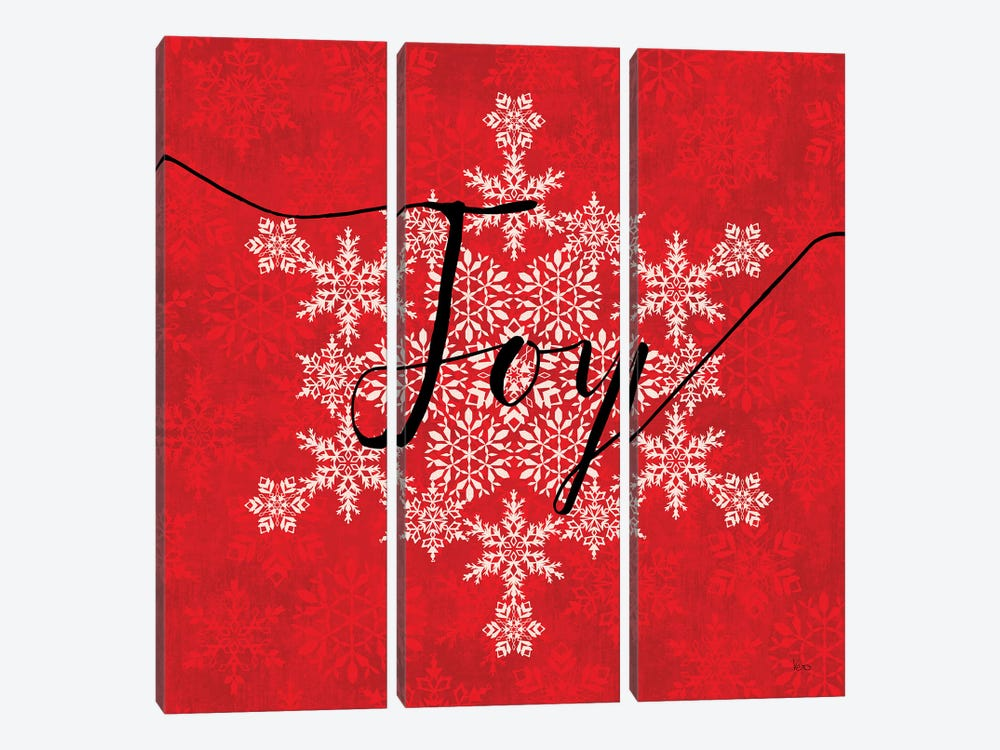 Holiday Charms IV Red by Veronique Charron 3-piece Canvas Wall Art