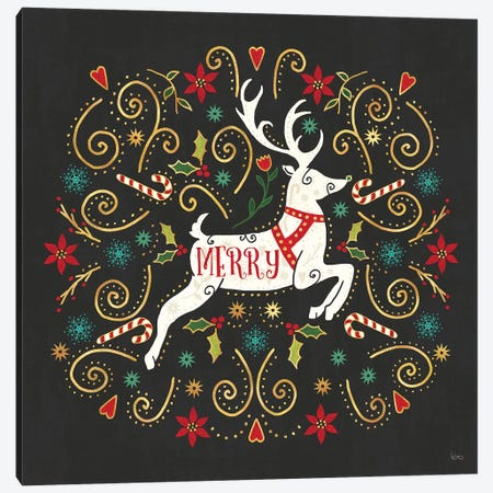 Otomi Holiday VIII Black Canvas Print #VCH57} by Veronique Charron Art Print